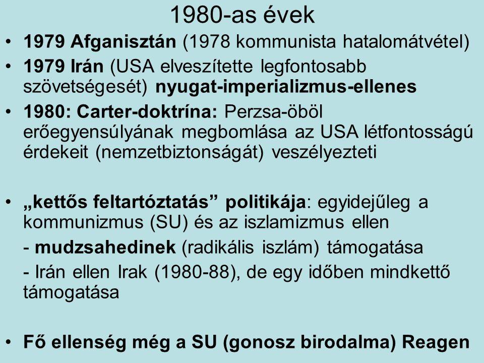 1980-as évek 1979 Afganisztán (1978 kommunista hatalomátvétel) 1979 Irán (USA elveszítette legfontosabb szövetségesét) nyugat-imperializmus-ellenes 19