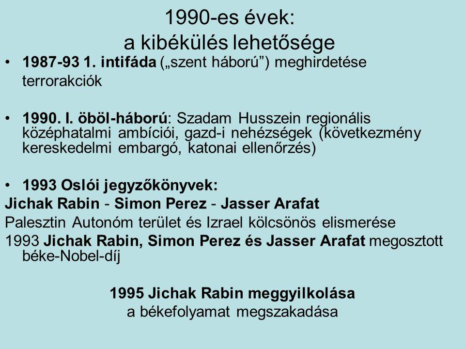 """1990-es évek: a kibékülés lehetősége 1987-93 1. intifáda (""""szent háború"""") meghirdetése terrorakciók 1990. I. öböl-háború: Szadam Husszein regionális k"""