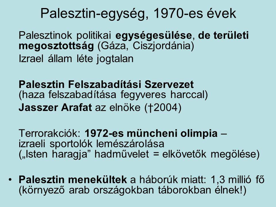 Palesztin-egység, 1970-es évek Palesztinok politikai egységesülése, de területi megosztottság (Gáza, Ciszjordánia) Izrael állam léte jogtalan Paleszti