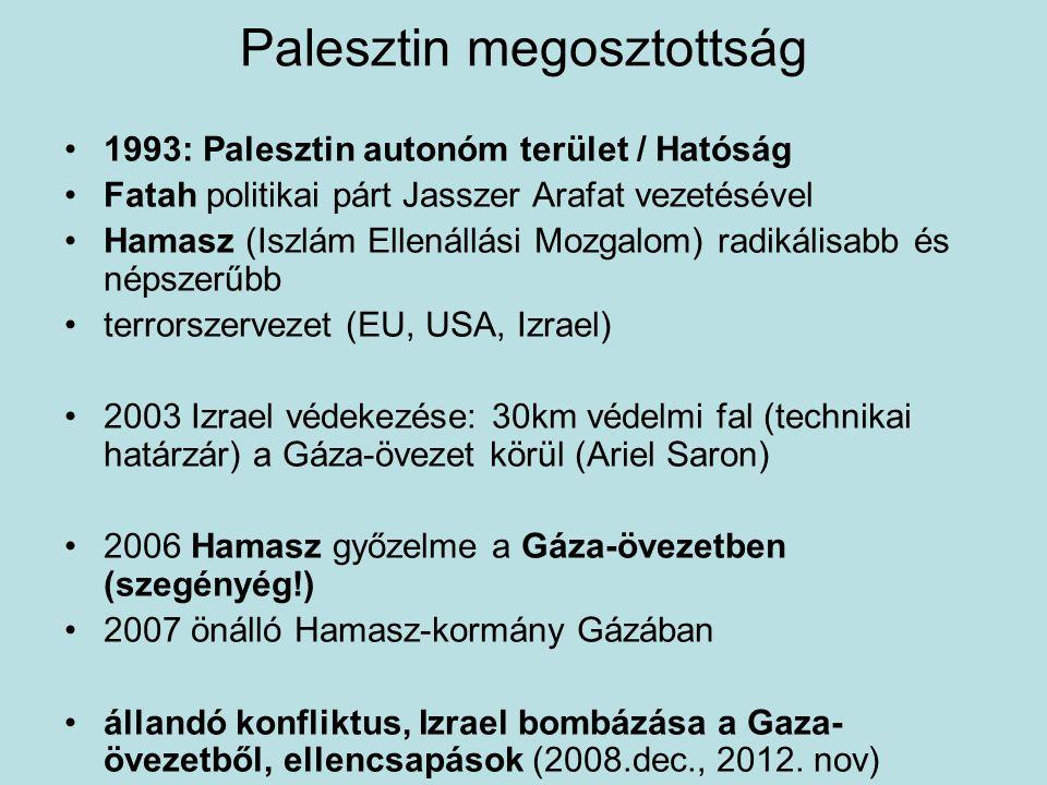 Palesztin megosztottság 1993: Palesztin autonóm terület / Hatóság Fatah politikai párt Jasszer Arafat vezetésével Hamasz (Iszlám Ellenállási Mozgalom)