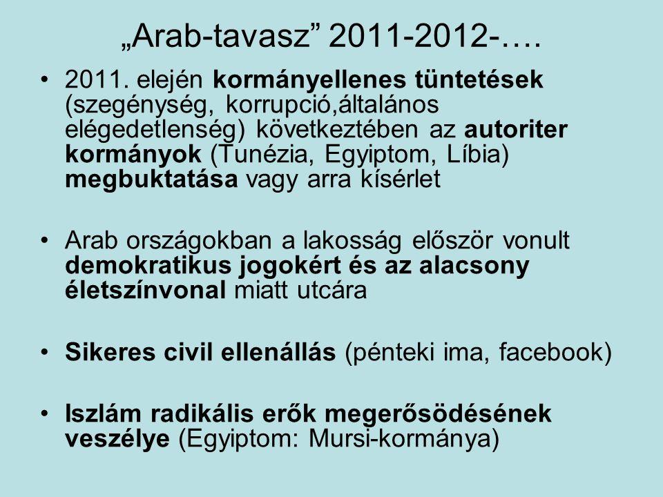 """""""Arab-tavasz"""" 2011-2012-…. 2011. elején kormányellenes tüntetések (szegénység, korrupció,általános elégedetlenség) következtében az autoriter kormányo"""