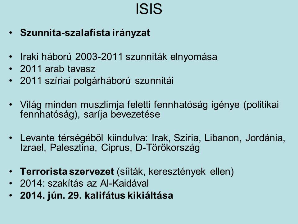 ISIS Szunnita-szalafista irányzat Iraki háború 2003-2011 szunniták elnyomása 2011 arab tavasz 2011 szíriai polgárháború szunnitái Világ minden muszlim