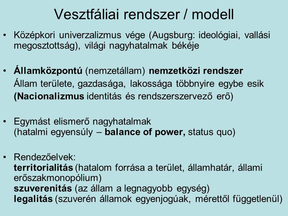 Vesztfáliai rendszer / modell Középkori univerzalizmus vége (Augsburg: ideológiai, vallási megosztottság), világi nagyhatalmak békéje Államközpontú (n