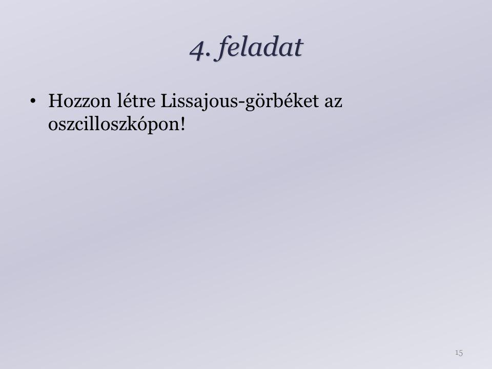 4. feladat Hozzon létre Lissajous-görbéket az oszcilloszkópon! 15