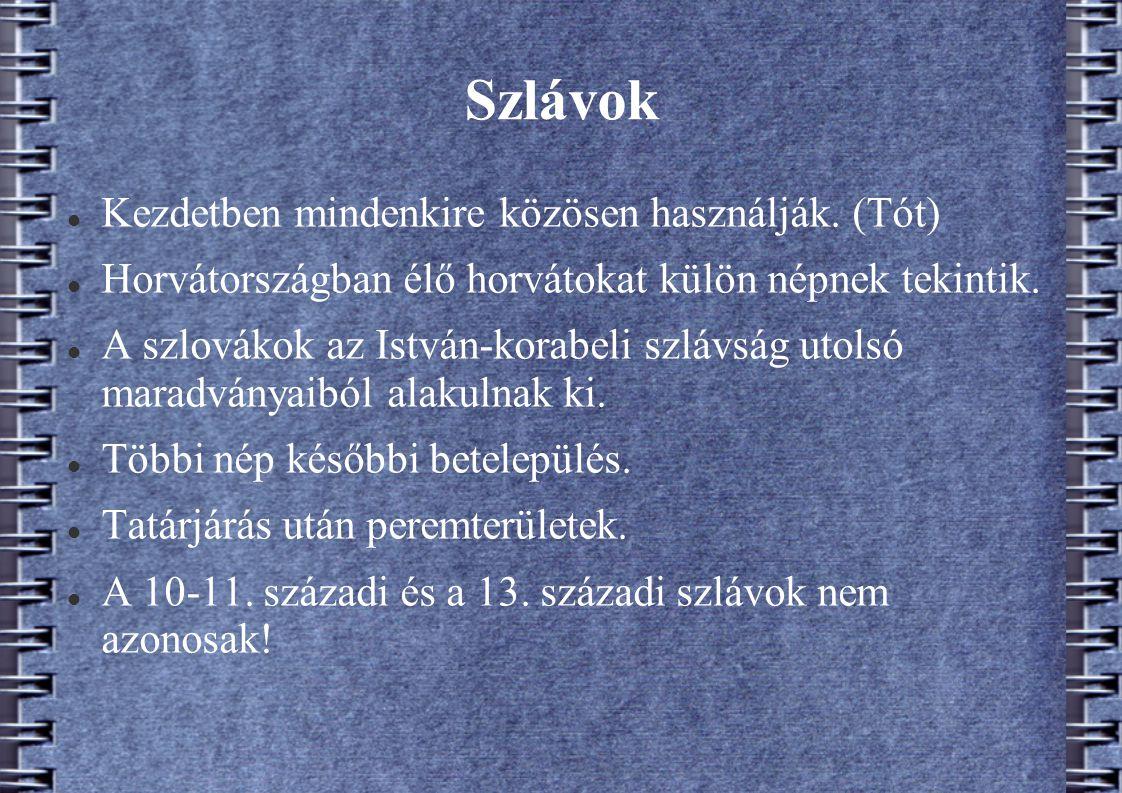 Szlávok Kezdetben mindenkire közösen használják. (Tót) Horvátországban élő horvátokat külön népnek tekintik. A szlovákok az István-korabeli szlávság u