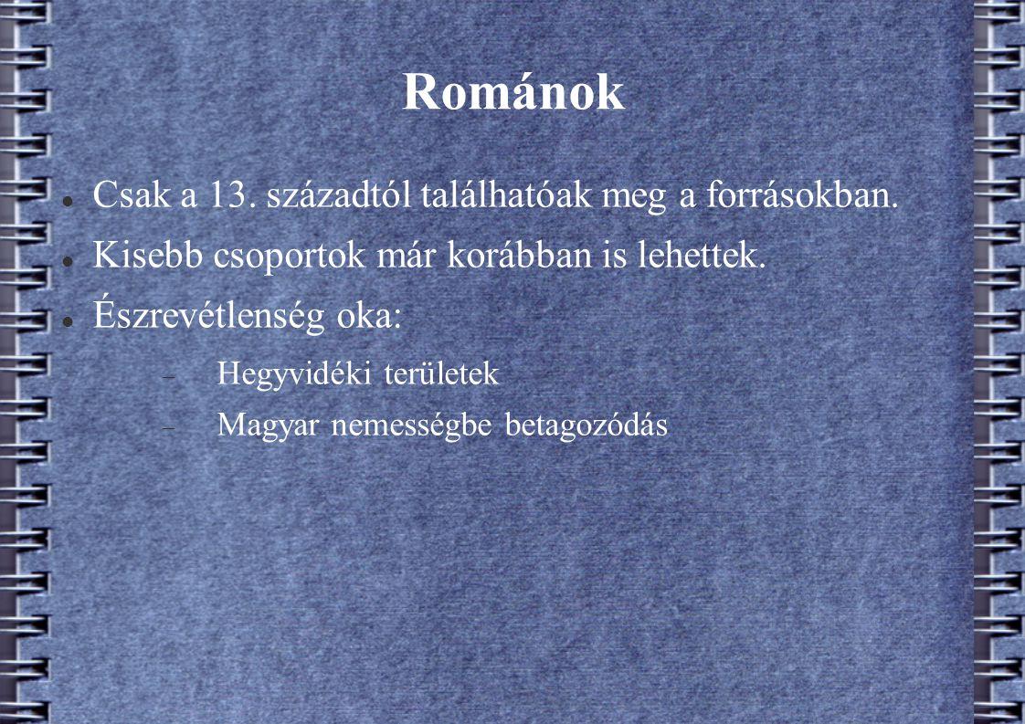 Románok Csak a 13. századtól találhatóak meg a forrásokban. Kisebb csoportok már korábban is lehettek. Észrevétlenség oka:  Hegyvidéki területek  Ma