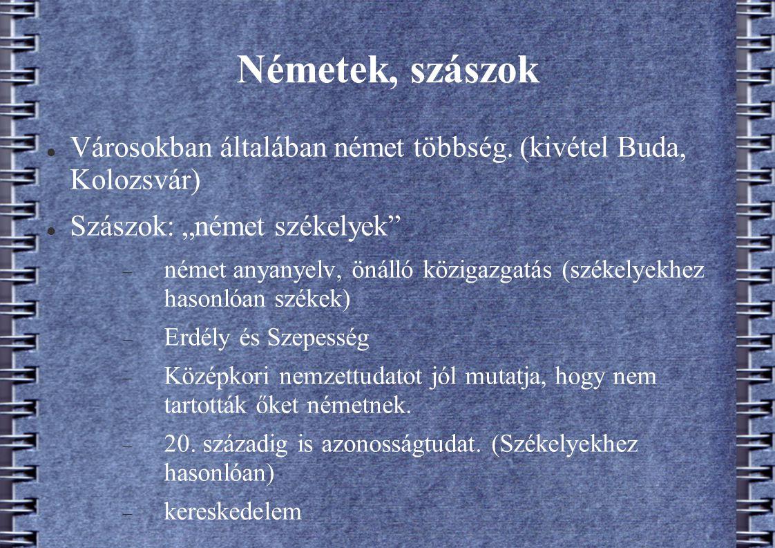 """Németek, szászok Városokban általában német többség. (kivétel Buda, Kolozsvár) Szászok: """"német székelyek""""  német anyanyelv, önálló közigazgatás (szék"""