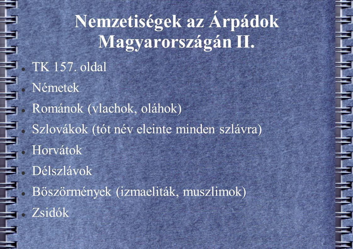 Nemzetiségek az Árpádok Magyarországán II. TK 157. oldal Németek Románok (vlachok, oláhok) Szlovákok (tót név eleinte minden szlávra) Horvátok Délszlá
