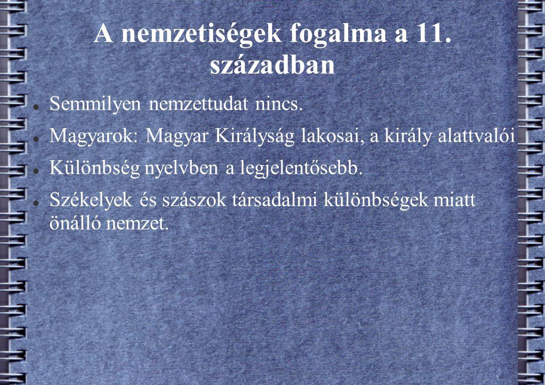 A nemzetiségek fogalma a 11. században Semmilyen nemzettudat nincs. Magyarok: Magyar Királyság lakosai, a király alattvalói Különbség nyelvben a legje