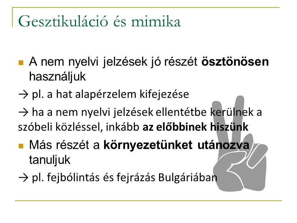A nem nyelvi jelzések jó részét ösztönösen használjuk → pl.