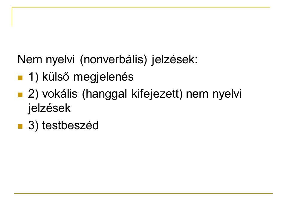 Nem nyelvi (nonverbális) jelzések: 1) külső megjelenés 2) vokális (hanggal kifejezett) nem nyelvi jelzések 3) testbeszéd