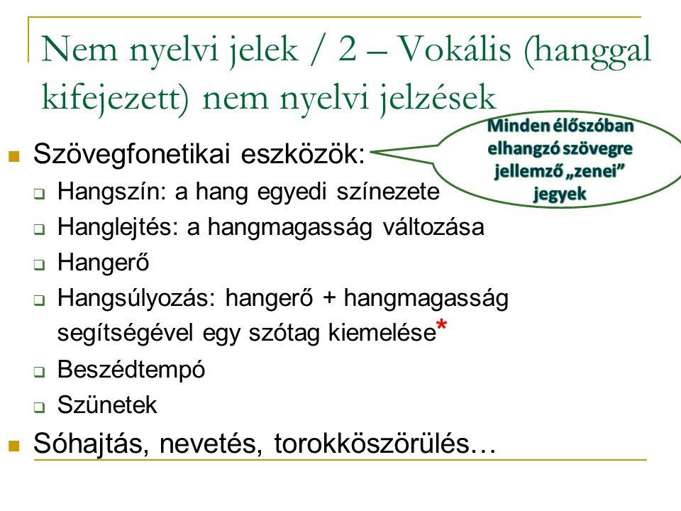 Nem nyelvi jelek / 2 – Vokális (hanggal kifejezett) nem nyelvi jelzések Szövegfonetikai eszközök:  Hangszín: a hang egyedi színezete  Hanglejtés: a hangmagasság változása  Hangerő  Hangsúlyozás: hangerő + hangmagasság segítségével egy szótag kiemelése *  Beszédtempó  Szünetek Sóhajtás, nevetés, torokköszörülés…