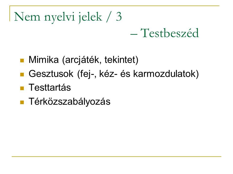 Nem nyelvi jelek / 3 – Testbeszéd Mimika (arcjáték, tekintet) Gesztusok (fej-, kéz- és karmozdulatok) Testtartás Térközszabályozás