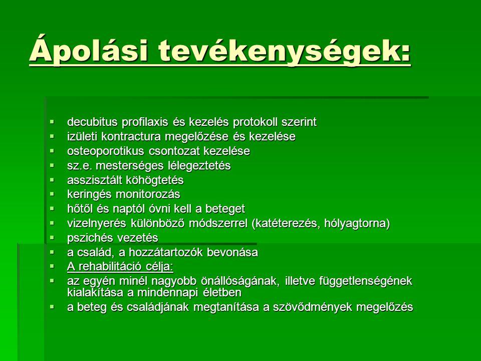 Ápolási tevékenységek:  decubitus profilaxis és kezelés protokoll szerint  izületi kontractura megelőzése és kezelése  osteoporotikus csontozat kez