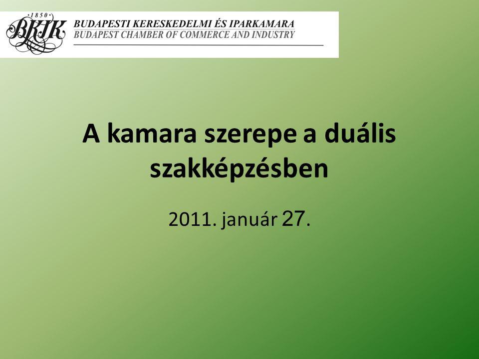 A kamara szerepe a duális szakképzésben 2011. január 27.