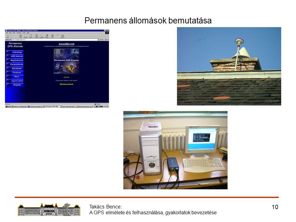 Takács Bence: A GPS elmélete és felhasználása, gyakorlatok bevezetése 10 Permanens állomások bemutatása