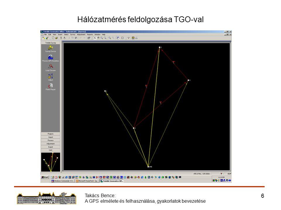 Takács Bence: A GPS elmélete és felhasználása, gyakorlatok bevezetése 17 Együttműködés a Hidak és Szerkezetek Tanszékével