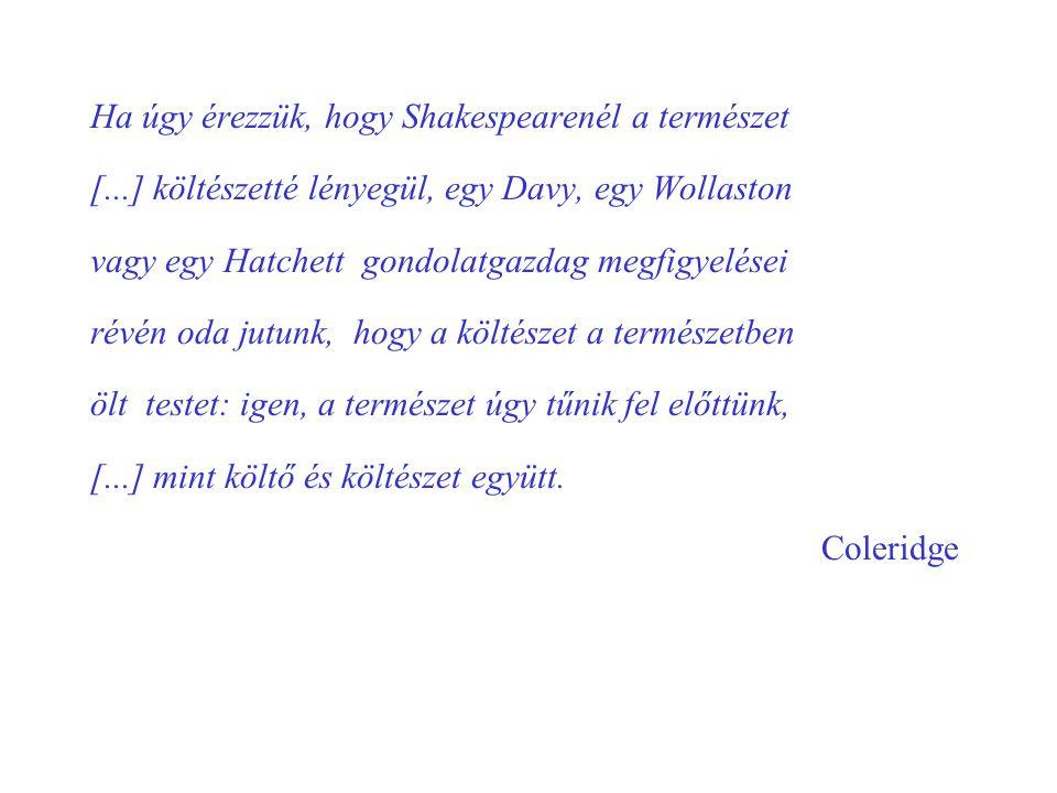 Ha úgy érezzük, hogy Shakespearenél a természet [...] költészetté lényegül, egy Davy, egy Wollaston vagy egy Hatchett gondolatgazdag megfigyelései rév