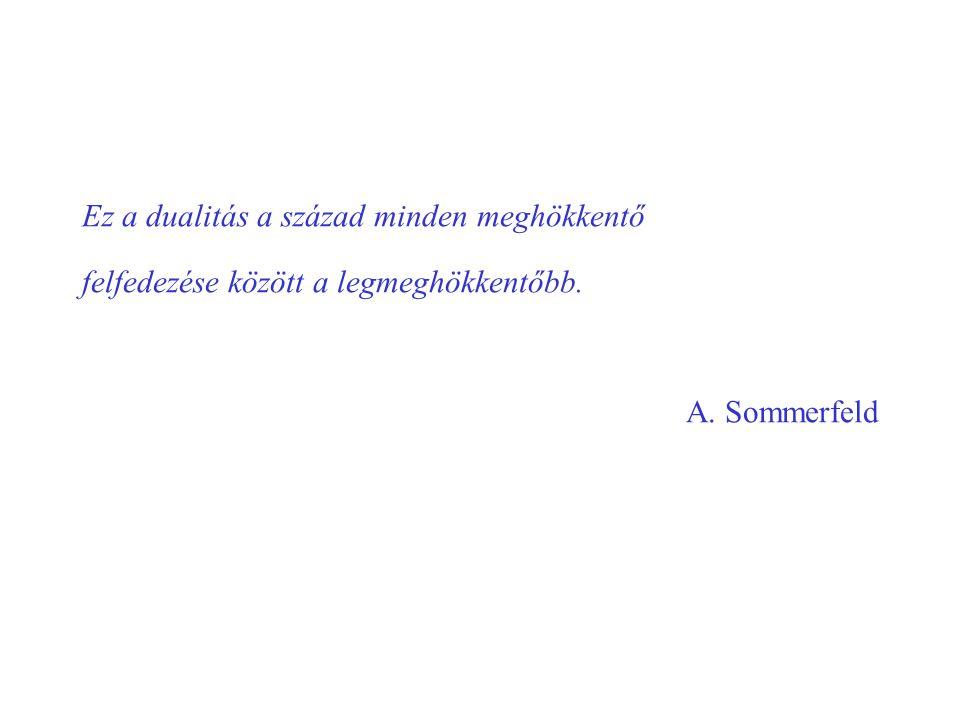 Ez a dualitás a század minden meghökkentő felfedezése között a legmeghökkentőbb. A. Sommerfeld