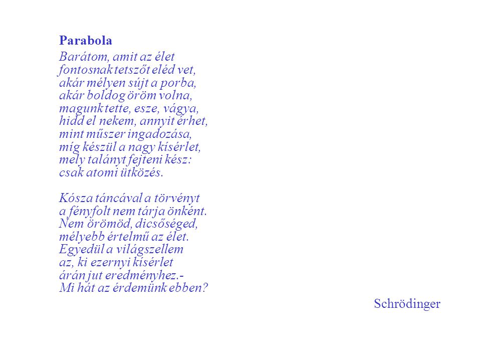 Parabola Barátom, amit az élet fontosnak tetszőt eléd vet, akár mélyen sújt a porba, akár boldog öröm volna, magunk tette, esze, vágya, hidd el nekem,