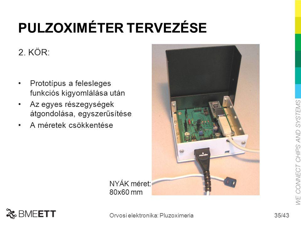 /43 Orvosi elektronika: Pluzoximeria 35 Prototípus a felesleges funkciós kigyomlálása után Az egyes részegységek átgondolása, egyszerűsítése A méretek