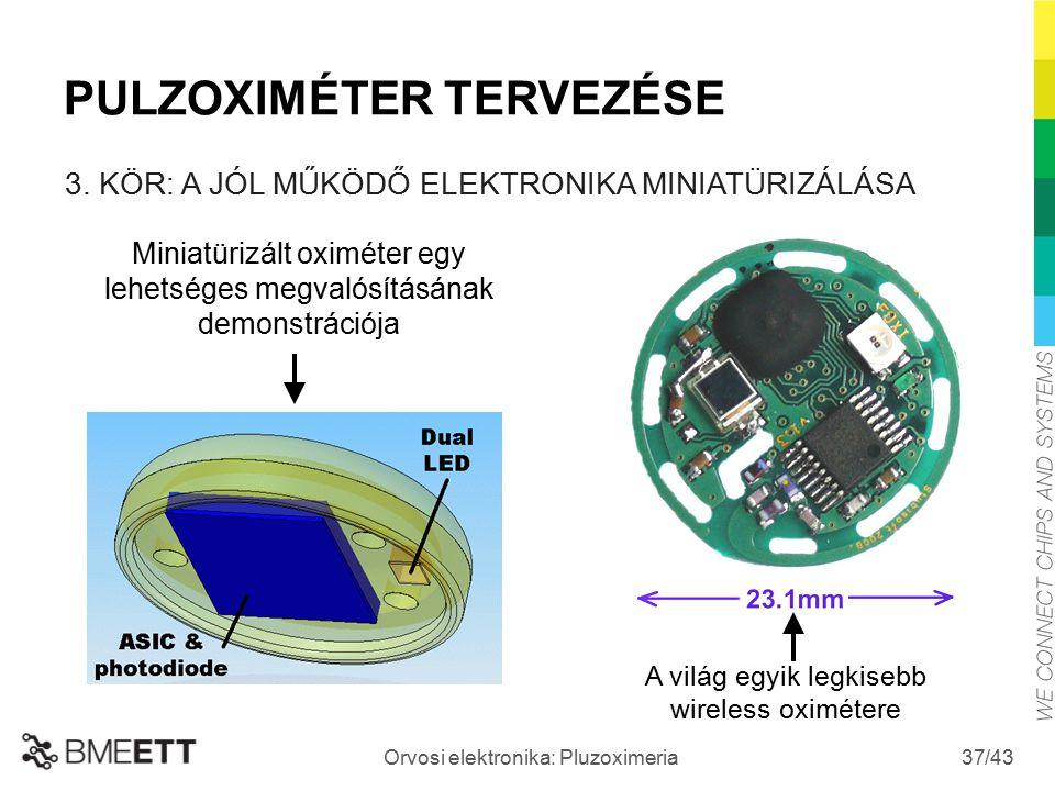 /43 Orvosi elektronika: Pluzoximeria 37 Miniatürizált oximéter egy lehetséges megvalósításának demonstrációja A világ egyik legkisebb wireless oximéte