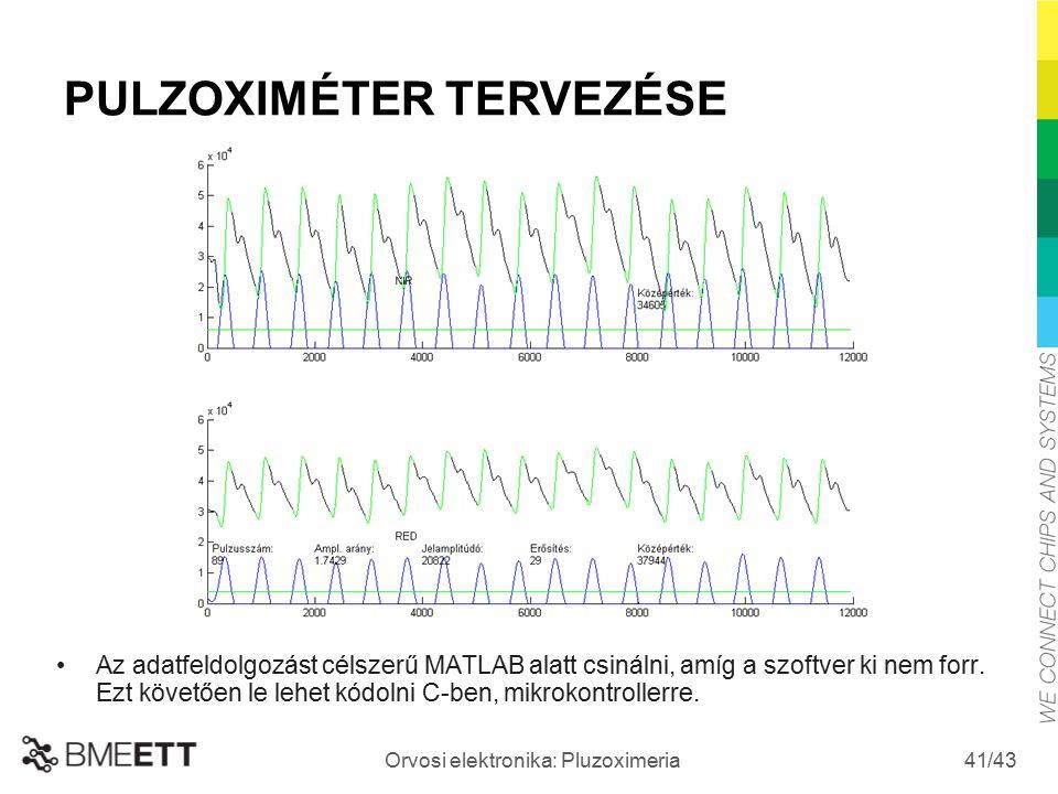 /43 Orvosi elektronika: Pluzoximeria 41 Az adatfeldolgozást célszerű MATLAB alatt csinálni, amíg a szoftver ki nem forr. Ezt követően le lehet kódolni