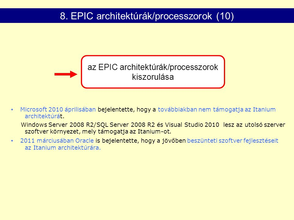az EPIC architektúrák/processzorok kiszorulása 8.