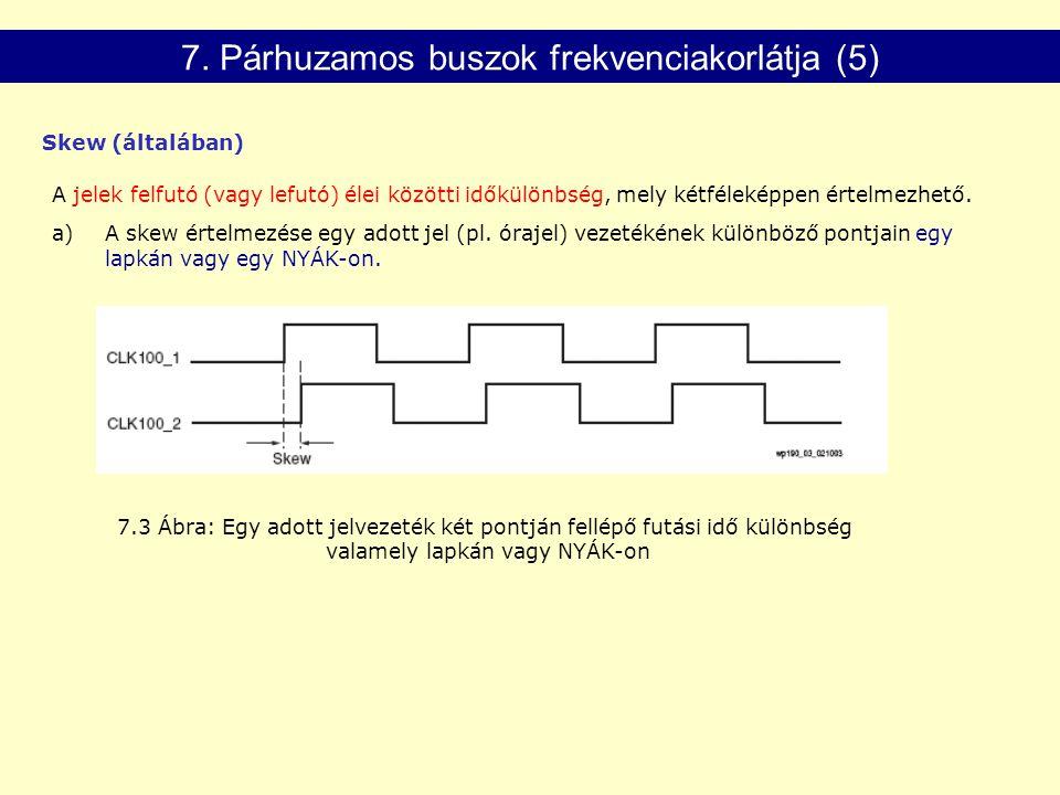 7.3 Ábra: Egy adott jelvezeték két pontján fellépő futási idő különbség valamely lapkán vagy NYÁK-on A jelek felfutó (vagy lefutó) élei közötti időkülönbség, mely kétféleképpen értelmezhető.