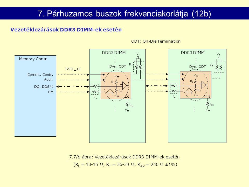 7.7/b ábra: Vezetéklezárások DDR3 DIMM-ek esetén (R s = 10-15 Ω, R T = 36-39 Ω, R ZQ = 240 Ω ±1%) V ss V TT RsRs Dyn. ODT ZQ V ss R ZQ Memory Contr. C