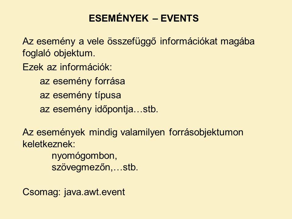 Az esemény a vele összefüggő információkat magába foglaló objektum.