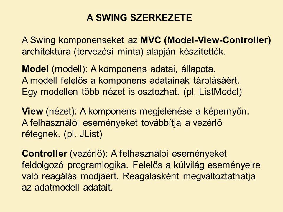 A SWING SZERKEZETE A Swing komponenseket az MVC (Model-View-Controller) architektúra (tervezési minta) alapján készítették. Model (modell): A komponen