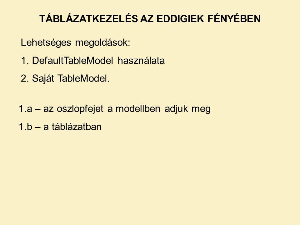 TÁBLÁZATKEZELÉS AZ EDDIGIEK FÉNYÉBEN Lehetséges megoldások: 1.DefaultTableModel használata 2.Saját TableModel. 1.a – az oszlopfejet a modellben adjuk