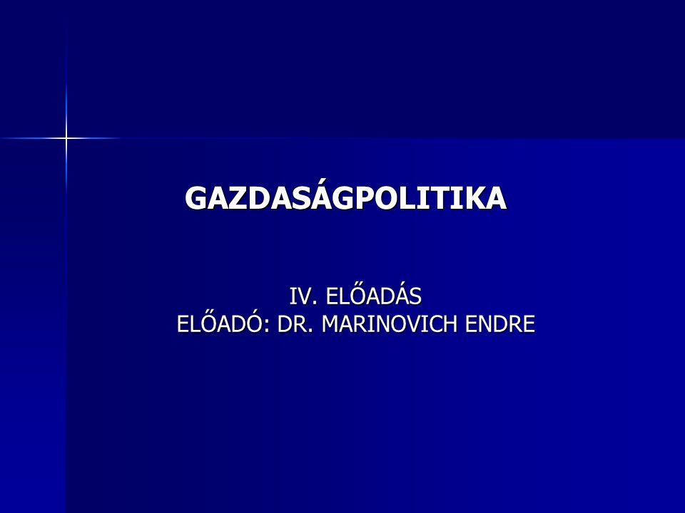 GAZDASÁGPOLITIKA IV. ELŐADÁS ELŐADÓ: DR. MARINOVICH ENDRE