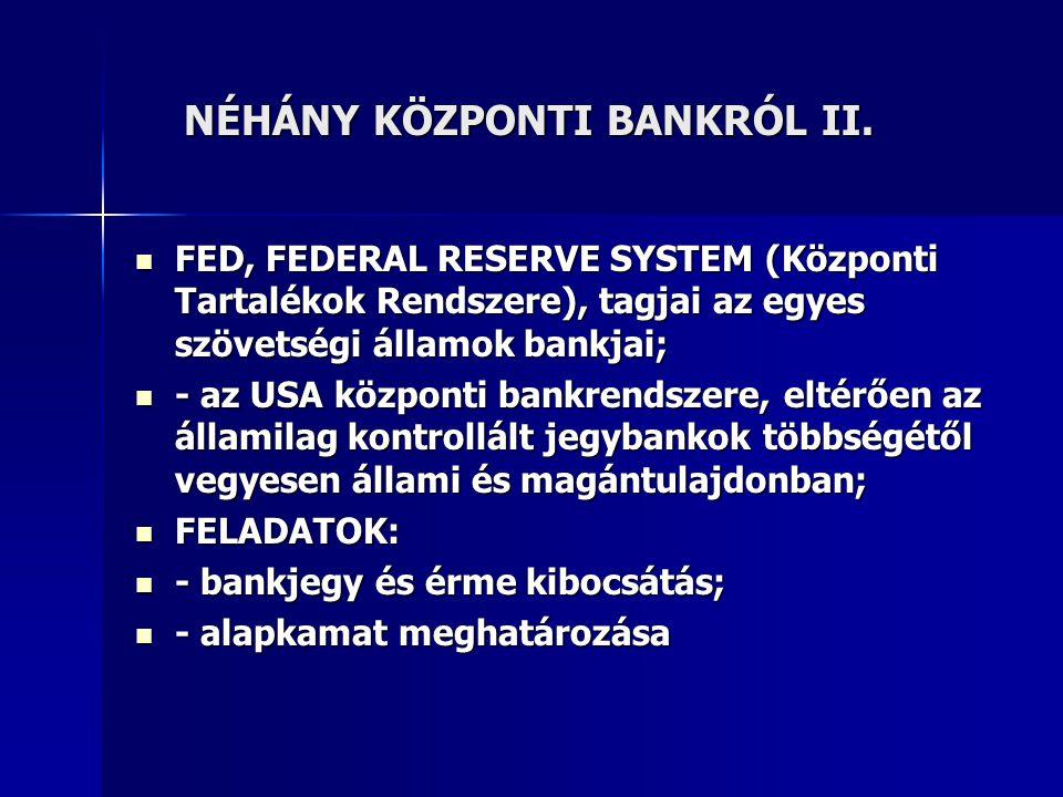 NÉHÁNY KÖZPONTI BANKRÓL II. NÉHÁNY KÖZPONTI BANKRÓL II. FED, FEDERAL RESERVE SYSTEM (Központi Tartalékok Rendszere), tagjai az egyes szövetségi államo