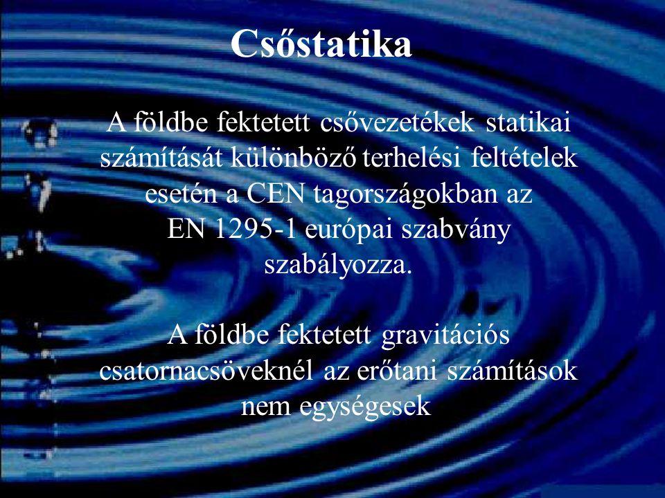 Csőstatika A földbe fektetett csővezetékek statikai számítását különböző terhelési feltételek esetén a CEN tagországokban az EN 1295-1 európai szabván