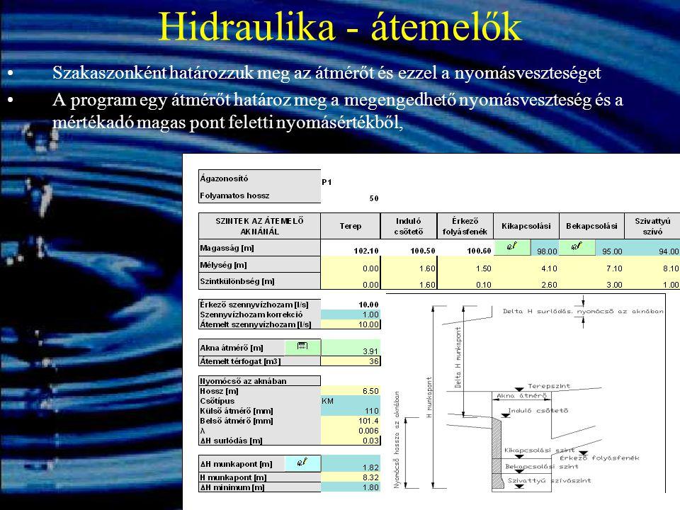 Hidraulika - átemelők Szakaszonként határozzuk meg az átmérőt és ezzel a nyomásveszteséget A program egy átmérőt határoz meg a megengedhető nyomásvesz