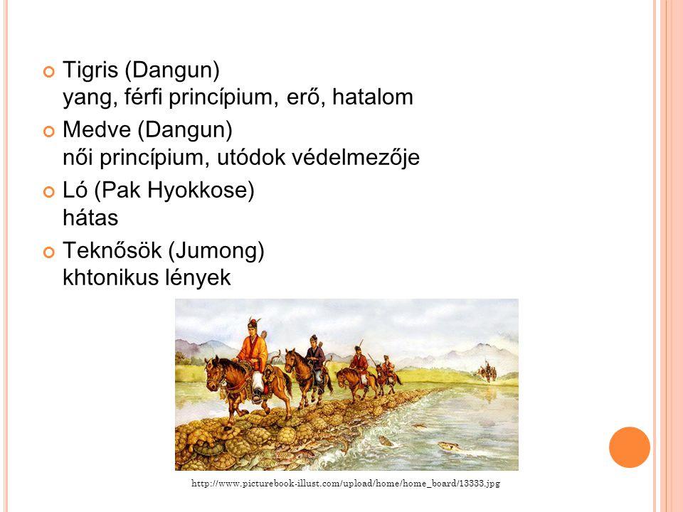 Tigris (Dangun) yang, férfi princípium, erő, hatalom Medve (Dangun) női princípium, utódok védelmezője Ló (Pak Hyokkose) hátas Teknősök (Jumong) khtonikus lények http://www.picturebook-illust.com/upload/home/home_board/13333.jpg
