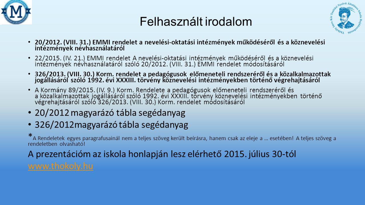 Felhasznált irodalom 20/2012.(VIII.