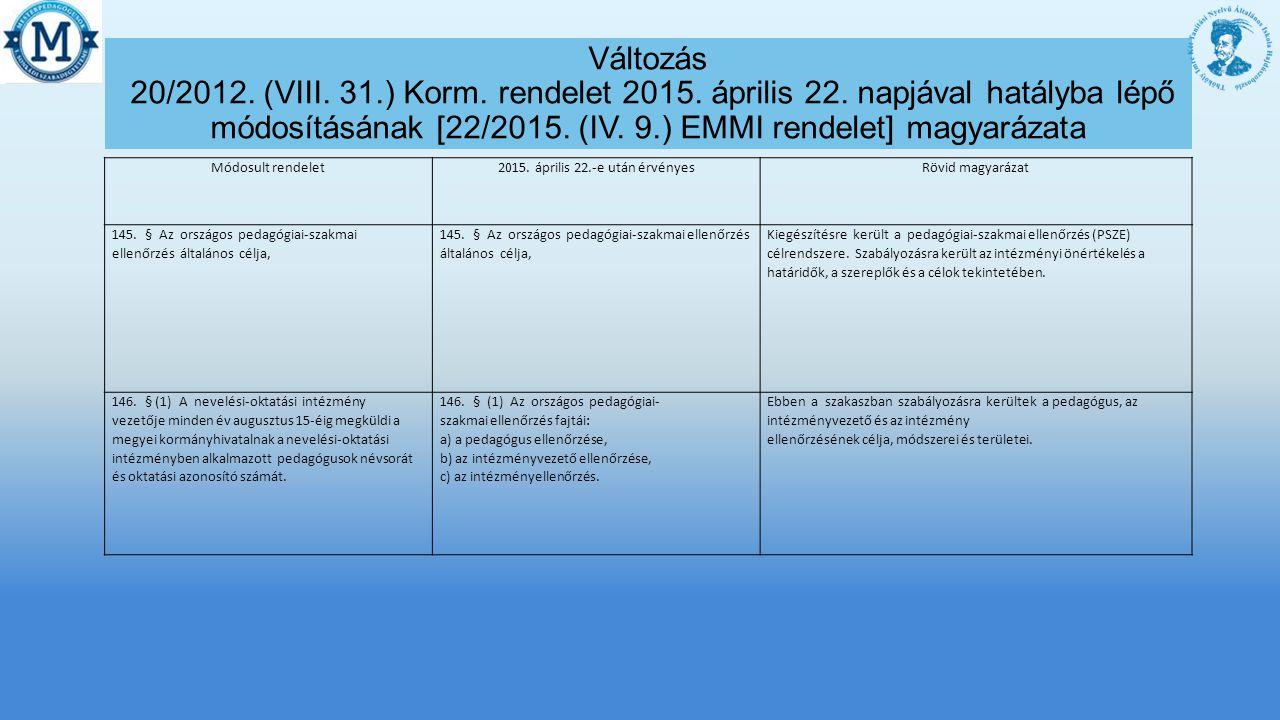 Módosult rendelet2015.április 22.-e után érvényesRövid magyarázat 147.
