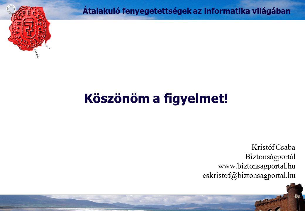 Köszönöm a figyelmet! Átalakuló fenyegetettségek az informatika világában Kristóf Csaba Biztonságportál www.biztonsagportal.hu cskristof@biztonsagport