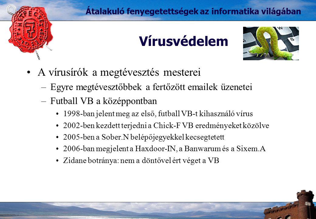 A vírusírók a megtévesztés mesterei –Egyre megtévesztőbbek a fertőzött emailek üzenetei –Futball VB a középpontban 1998-ban jelent meg az első, futbal