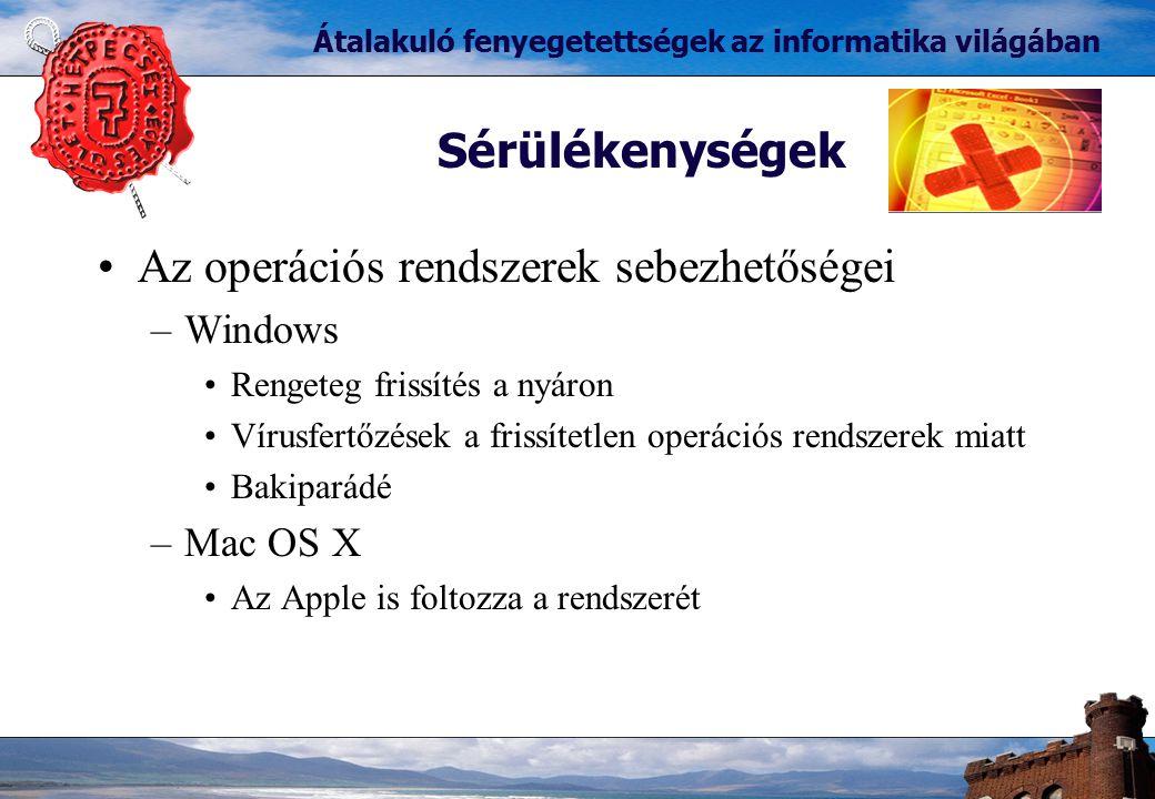 Az operációs rendszerek sebezhetőségei –Windows Rengeteg frissítés a nyáron Vírusfertőzések a frissítetlen operációs rendszerek miatt Bakiparádé –Mac