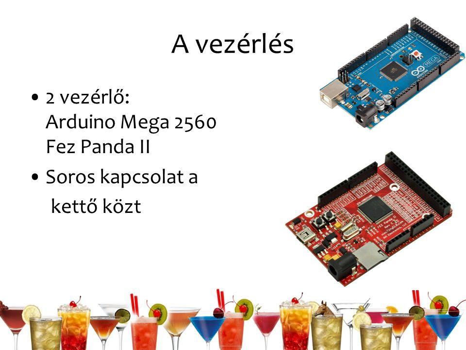 A vezérlés 2 vezérlő: Arduino Mega 2560 Fez Panda II Soros kapcsolat a kettő közt
