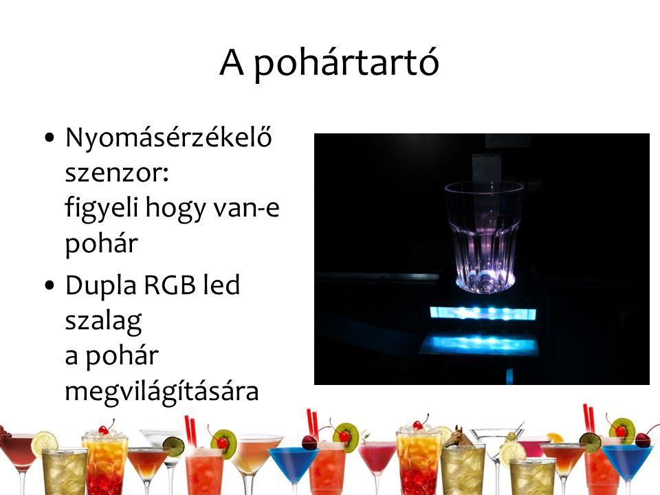 A pohártartó Nyomásérzékelő szenzor: figyeli hogy van-e pohár Dupla RGB led szalag a pohár megvilágítására