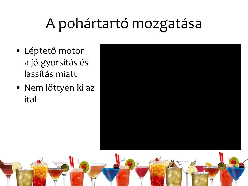 A pohártartó mozgatása Léptető motor a jó gyorsítás és lassítás miatt Nem löttyen ki az ital