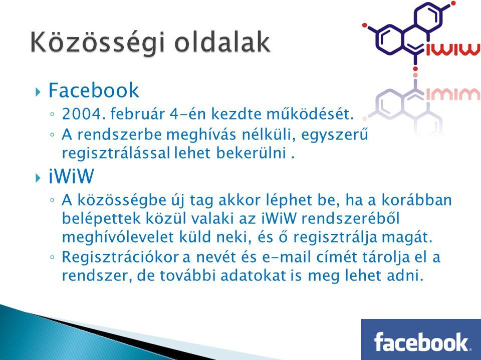  Facebook ◦ 2004. február 4-én kezdte működését.