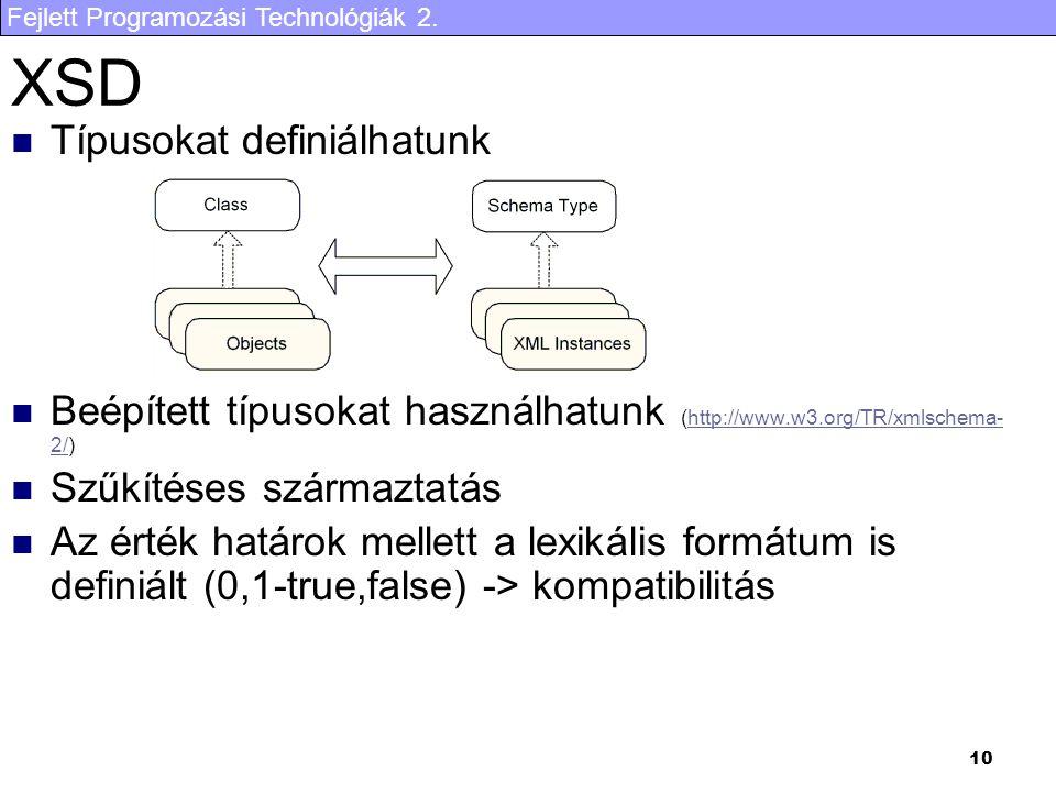 Fejlett Programozási Technológiák 2. 10 XSD Típusokat definiálhatunk Beépített típusokat használhatunk (http://www.w3.org/TR/xmlschema- 2/)http://www.
