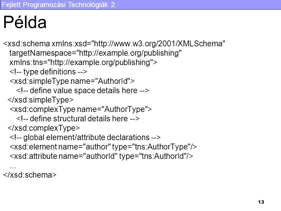 Fejlett Programozási Technológiák 2. 13 Példa <xsd:schema xmlns:xsd=