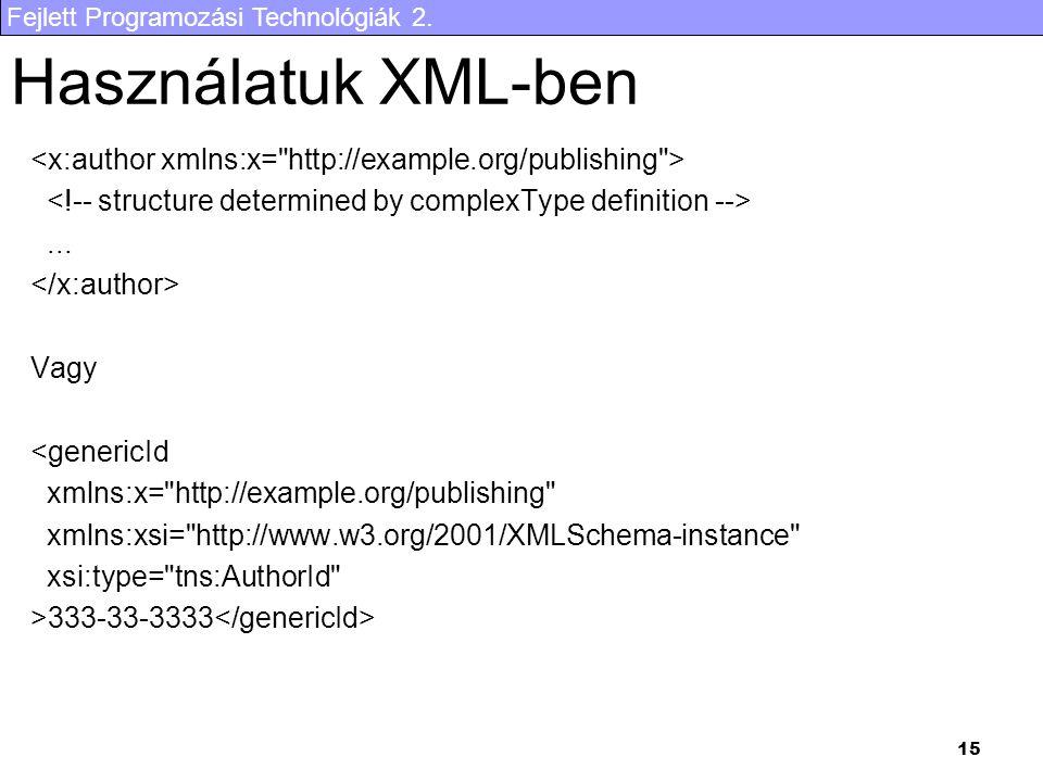 Fejlett Programozási Technológiák 2. 15 Használatuk XML-ben... Vagy <genericId xmlns:x=